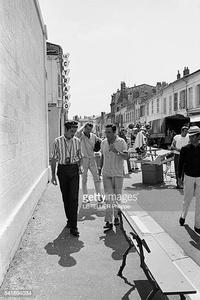 shooting of the movie Les Demoiselles de Rochefort the film director Jacques Demy with the dancer Gene Kelly in Rochefort on June 1966