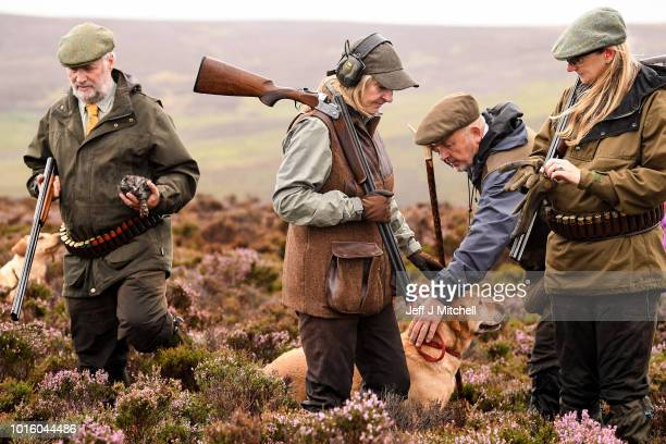 A shooting party set off on first day of the grouse shooting season on Forneth Moor on August 13 2018 in Dunkeld Scotland Gamekeepers are expecting a...