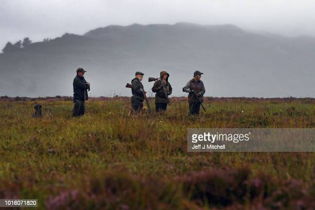 Shooting party set off on first day of the grouse shooting season on Forneth Moor on August 13, 2018 in Dunkeld, Scotland. Gamekeepers are expecting...