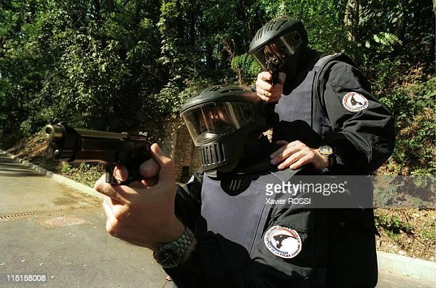 Shooting practice of the judiciary police in Fort de Montlignon in France in September 1998