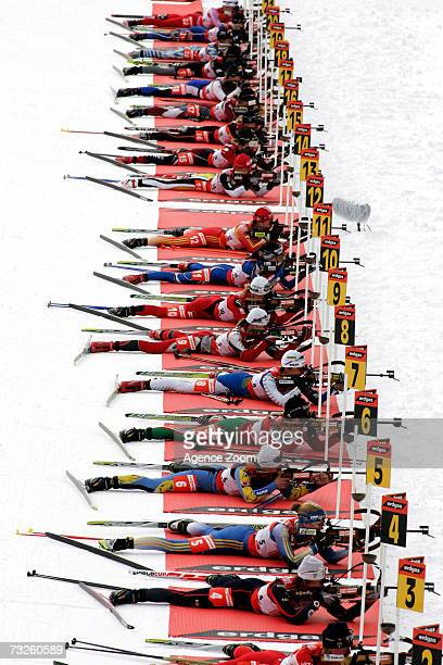 Shooting Range at the IBU Biathlon World Championships Biathlon Mixed Relay event on February 08 2007 in Antholz Italy