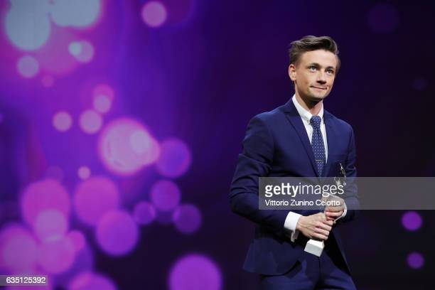 Shooting Star Esben Smed receives the award at the 'The Party' premiere during the 67th Berlinale International Film Festival Berlin at Berlinale...