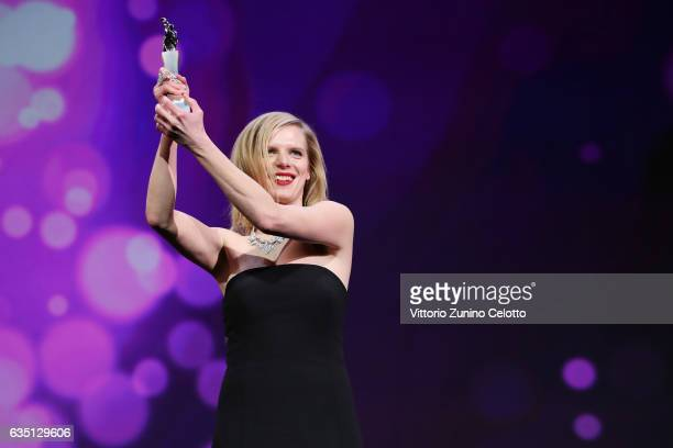 Shooting Star Marusa Majer receives the award at the 'The Party' premiere during the 67th Berlinale International Film Festival Berlin at Berlinale...