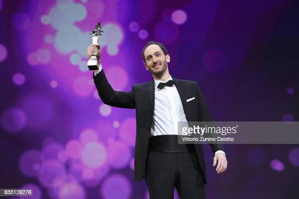 Shooting Star Tudor Aaron Istodor receives the award at the 'The Party' premiere during the 67th Berlinale International Film Festival Berlin at...