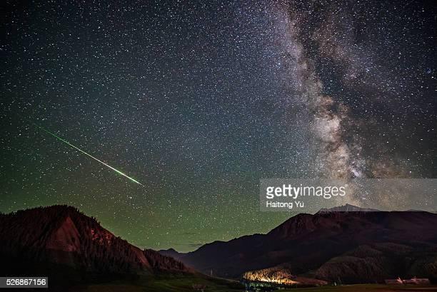 Shooting stars and milky way shot on Qinghai Province on Tibentan Plateau, west China