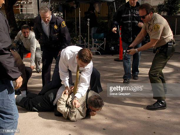 Shooting suspect William Strier walks down sidewalk outside the Los Angeles Superior Courthouse in Van Nuys California October 31 2003 The victim...