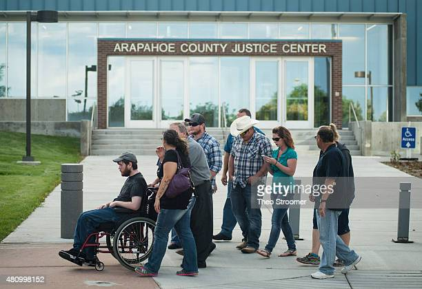 Shooting victim Caleb Medley leaevs the Arapahoe County Justice Center after a verdict was delivered in the trial of James Holmes on July 16 2015 in...