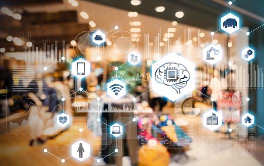 Shop and AI. e-commerce concept. 968108284