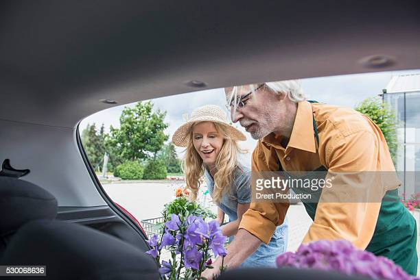 shop assistant helping a customer putting plant in a car trunk, augsburg, bavaria, germany - putting stock photos and pictures