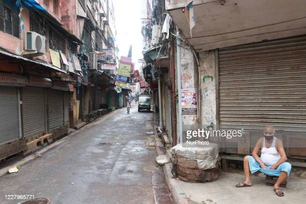 Shop closed during a complete lockdown in Kolkata on August 8, 2020. India's official coronavirus case tally passed two million on on August 7 after...