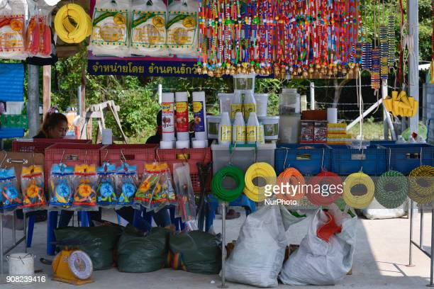 Shop decorative and lassos for bull owners at the bullfighting arena in Nakhon Si Thammarat Province Thailand on January 20 2018 Bullfighting is a...