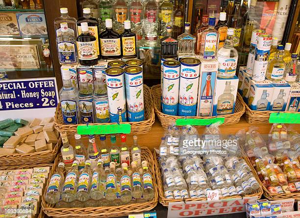 Shop display bottles of ouzo Rhodes Greece