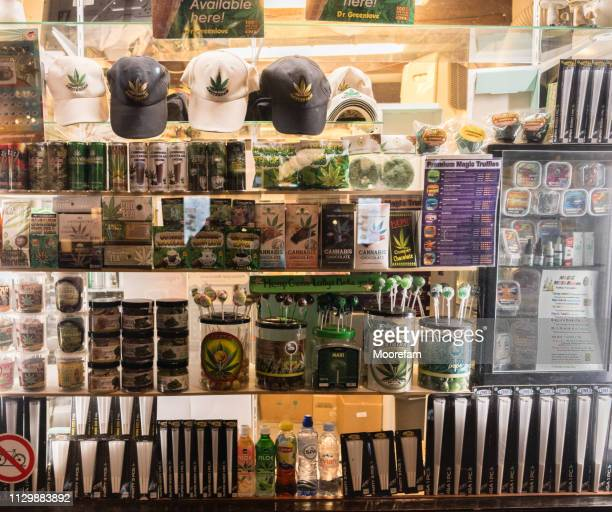 shop display in central amsterdam selling cannabis products - cannabis store stock pictures, royalty-free photos & images