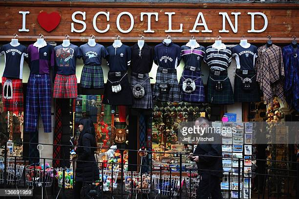 A shop displays kilts and Scottish memorabilia near the Royal Mile on January 10 2012 in Edinburgh Scotland The Scottish First Minister has indicated...