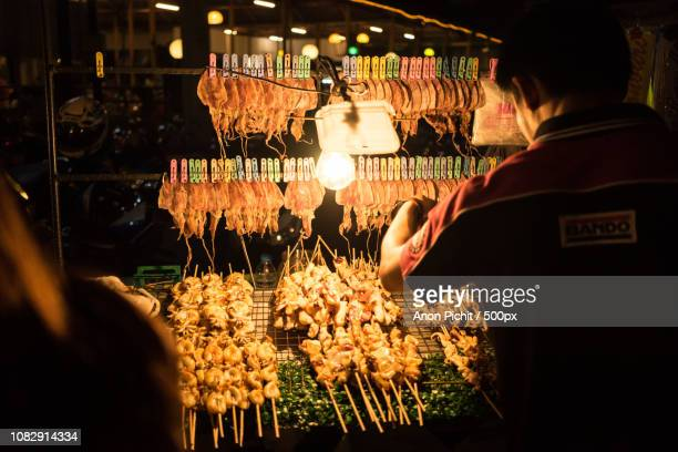 shop dried squid at night