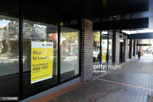 """""""Shop for Lease"""" signs are displayed in the window of a vacant store during a partial lockdown imposed due to the coronavirus in the Mosman suburb of..."""