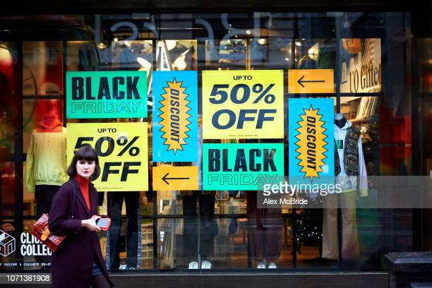 A shop front displays its Black Friday sales in Oxford Circus on November 23 2018 in London England Shoppers Look For Bargains On Black Friday r