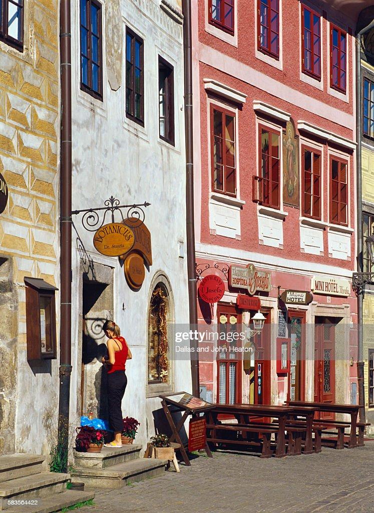 Shop Fronts, Cesky Krumlov on Vltava River, Czech Republic : Stock Photo