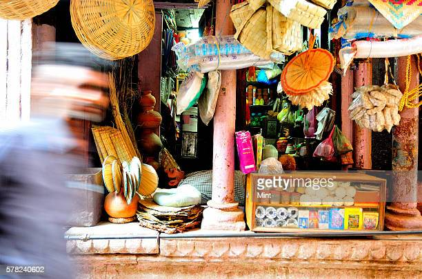 A shop in the Manikarnika Ghat lane that sells goods for last rites on April 26 2016 in Varanasi India Summers in India are not for the fainthearted...