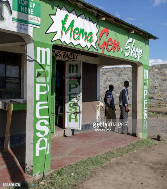 Shop of MPesa a system introduced by the mobile phone company Safaricom and Vodafone for cashless payment via mobile phone in Kenya on May 17 2017 in...