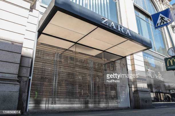 Shop of the clothing chain Zara remains closed during the Coronavirus emergency, on March 11 in Rome, Italy. The Italian government has imposed...