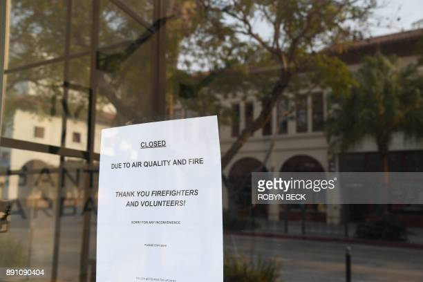 A shop on State Street is due to poor air quality due to the Thomas Fire in Santa Barbara California December 12 2017 The Thomas Fire now the fifth...