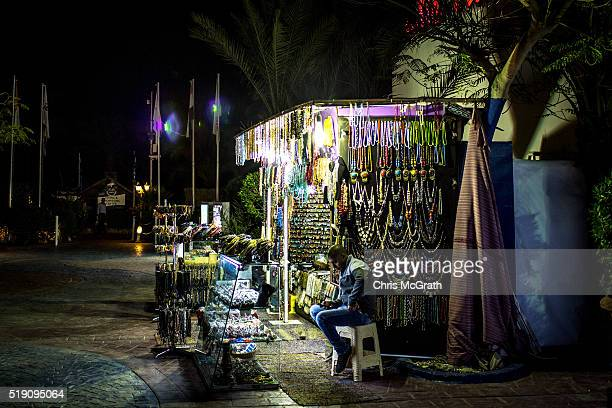A shop owner waits for customers in Naama Bay on April 1 2016 in Sharm El Sheikh Egypt Prior to the Arab Spring in 2011 some 15million tourists would...