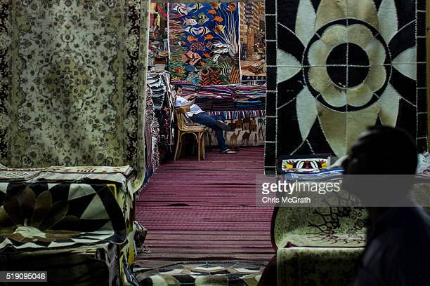 A shop owner waits for customers in the Old Market district on April 3 2016 in Sharm El Sheikh Egypt Prior to the Arab Spring in 2011 some 15million...