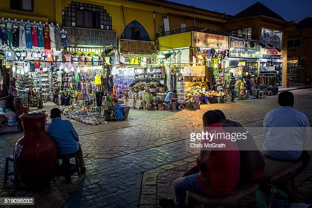 Shop owners sit outside waiting for customers in the Old Market district on April 3 2016 in Sharm El Sheikh Egypt Prior to the Arab Spring in 2011...