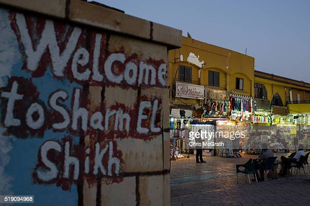 Shop owners wait for customers in the Old Market district on April 3 2016 in Sharm El Sheikh Egypt Prior to the Arab Spring in 2011 some 15million...