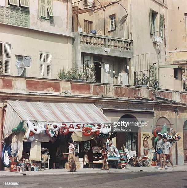 A shop selling beach paraphernalia in Menton in southeastern France 1957