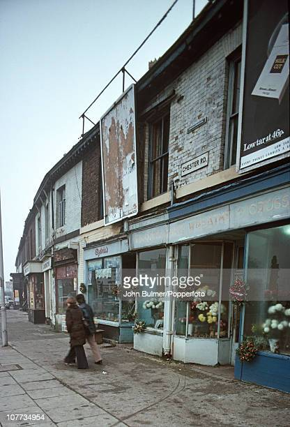 A shop selling funerary bouquets on Chester Road in Manchester England in 1976