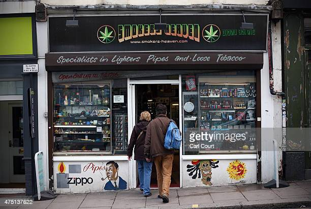 A shop selling legal highs and smoking paraphernalia is pictured on May 29 2015 in Brighton England There has been a significant rise in the use of...