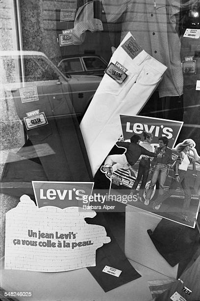 A shop selling Levi's jeans in Sombernon France July 1980