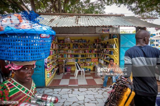 A shop sells skinlightening products in Accra on July 3 2018 Africa is experiencing a massive trend of skin bleaching also called lightening or...