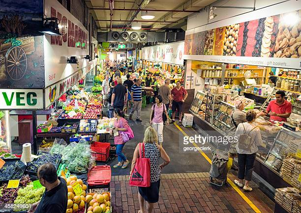 shop stalls within adelaide central market - adelaide stock pictures, royalty-free photos & images