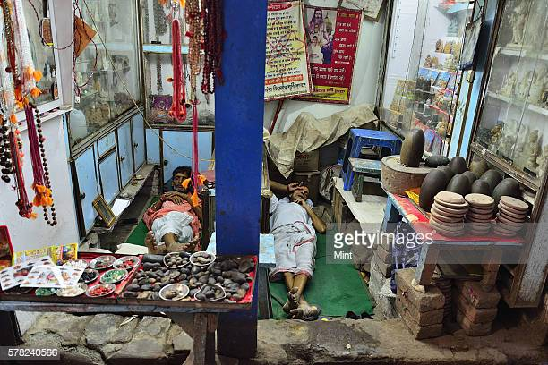 A shop that sells religious items near the Kashi Vishwanath temple on April 26 2016 in Varanasi India Summers in India are not for the fainthearted...