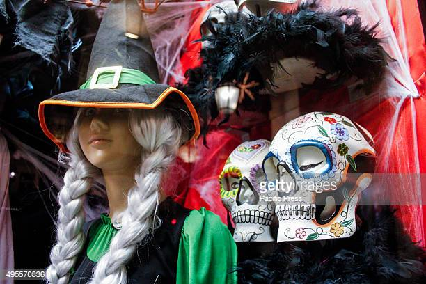 Shop window decorated for Halloween. Turin, Italy on Oct 31, 2015.