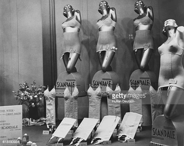 A shop window display advertising Scandale corsets