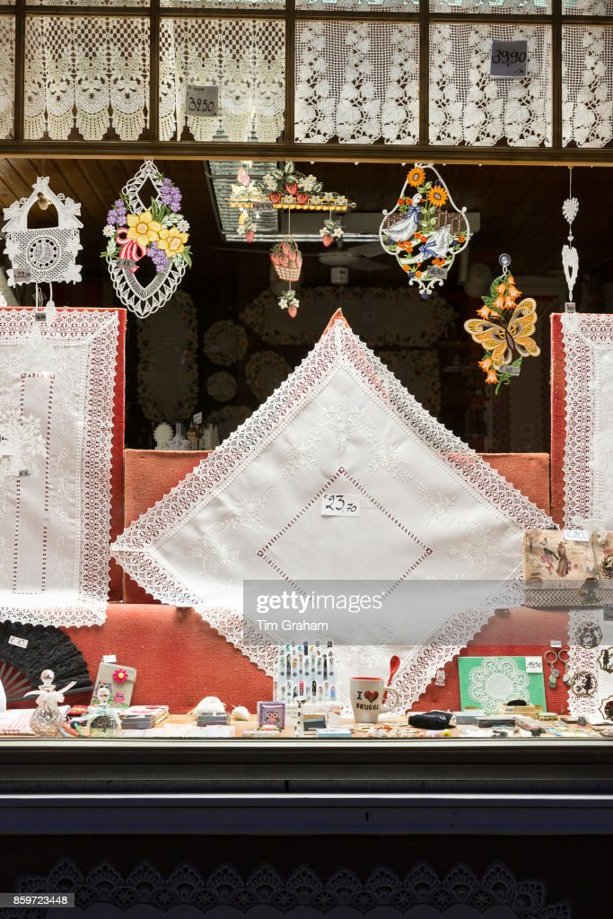 shop window of traditional lace and linen gifts and souvenirs in