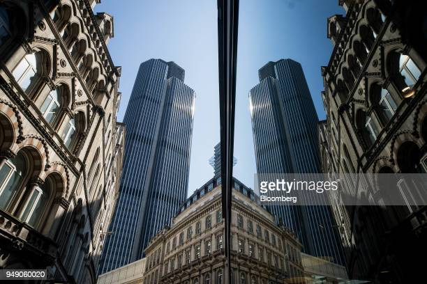 A shop window reflects The Tower 42 skyscraper in City of London UK on Friday April 20 2018 Foreign investors are less worried about the impact of...