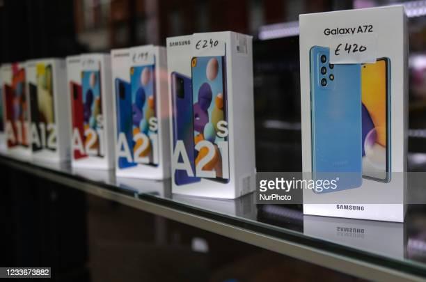 Shop window with Galaxy Samsung latest phones. On Saturday, 26 June 2021, in Dublin, Ireland.