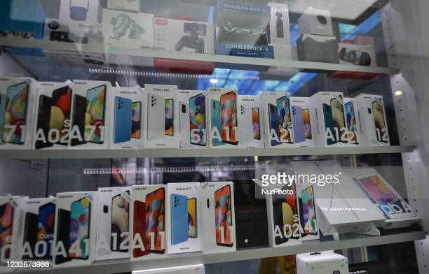 Shop window with Galaxy Samsung products including latest phones. Ireland, On Saturday, 26 June 2021, in Dublin, Ireland.