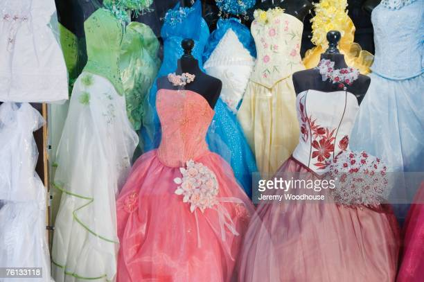 shop window with quinceanera dresses - quinceanera stock pictures, royalty-free photos & images