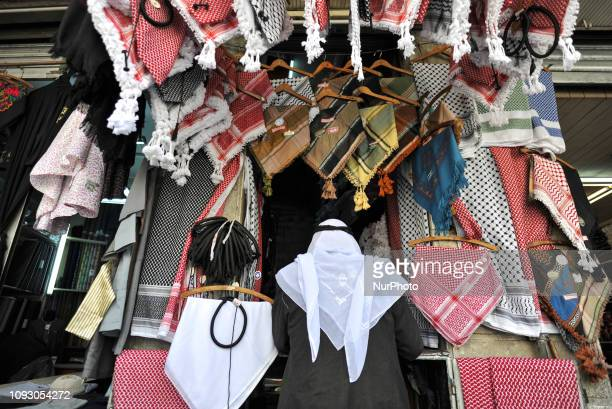 Shop with Jordanian and Palestinian Keffiyeh, seen in the Old Town of Amman. On Friday, February 2 in Amman, Jordan.