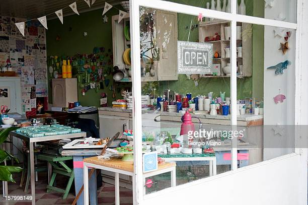 Shop-front of an Italian ceramic shop and studio