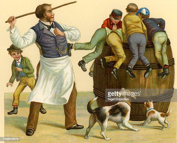 A shopkeeper administers a caning to a group of naughty boys circa 1840 A Victorian illustration
