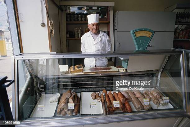 Shopkeeper and his wares in a Moscow delicatessen, 1st April 1987.