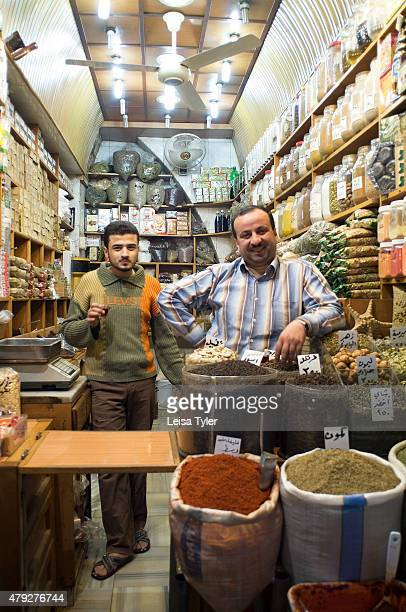 Shopkeepers inside Al Madina Souk in Aleppo Syria before it was largely destroyed during the Syrian civil war Stretching over 12 hectares and dating...