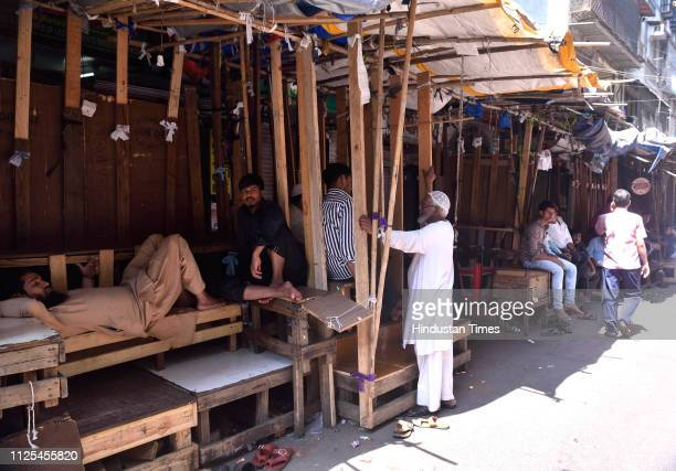 Shopkeepers of Musafir Khanna market area kept the shops closed against the Pulwama terrorist attack at Fort on February 16 2019 in Mumbai India At...